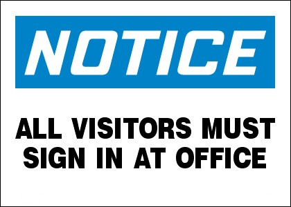 Visitor Sign in notice